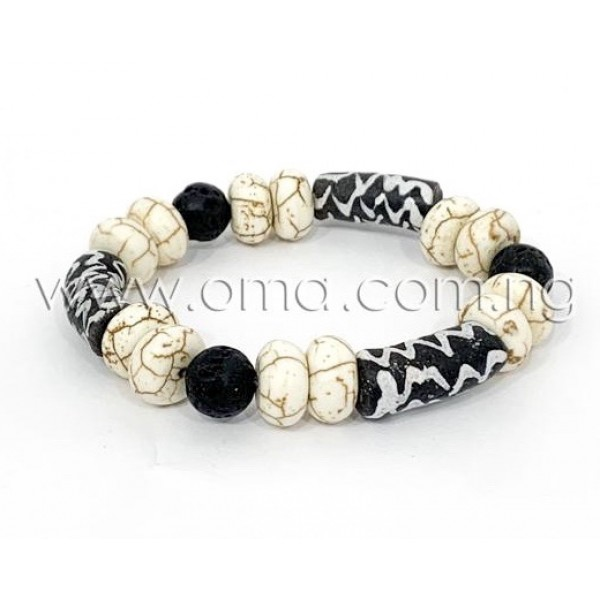 Rondelle hand painted African beads bracelets