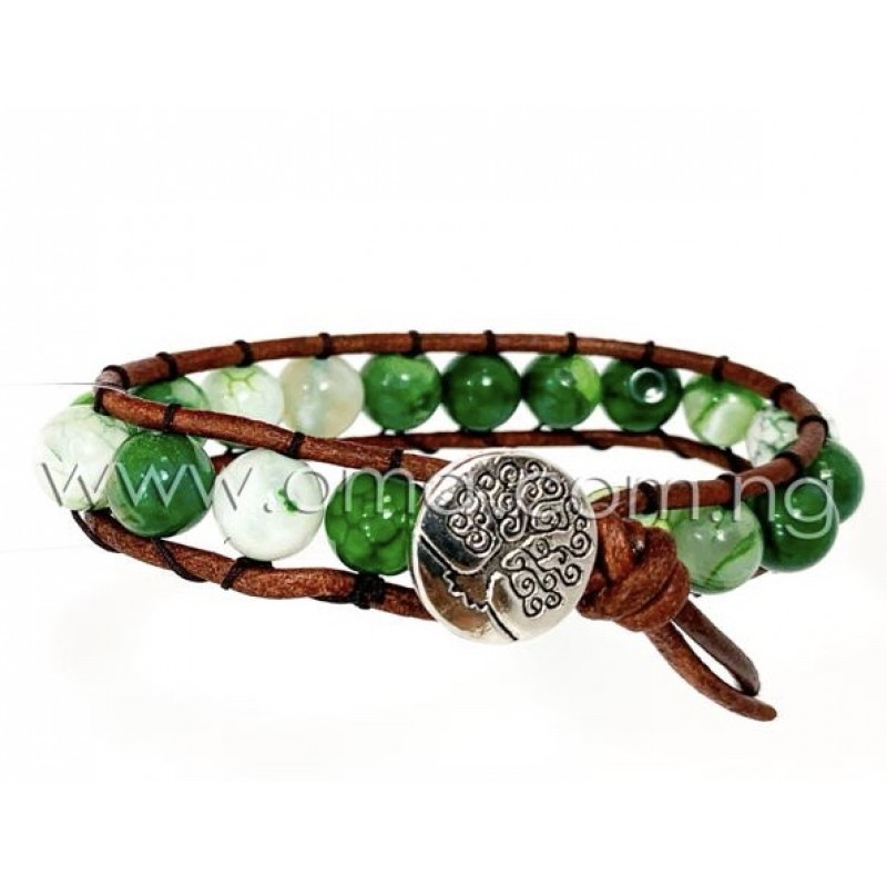 Tree of life Natural green agate leather bracelet