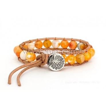 Tree of life Natural yellow leather bracelets
