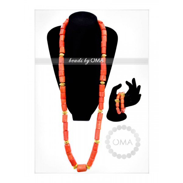Men one layer real coral necklace