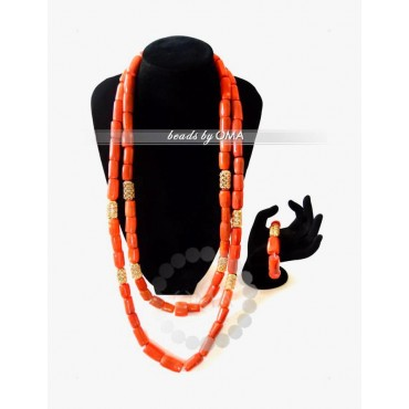 Men Double layers Real coral Necklace