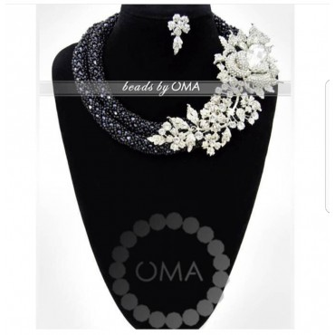 Handwoven  black crystal  beads necklace