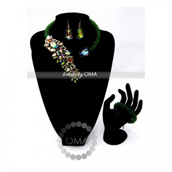 Green Diamante cuff design necklace