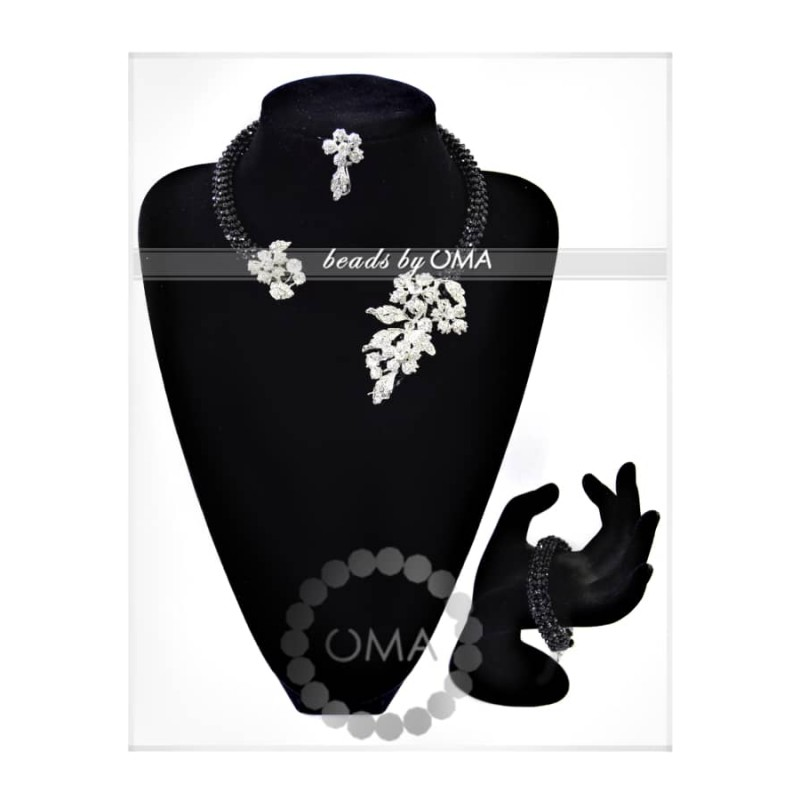Black Crystal beads cuff design necklace