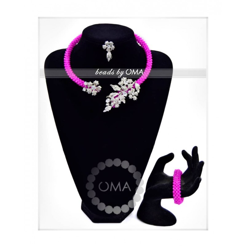 Pink crystal beads cuff design necklace