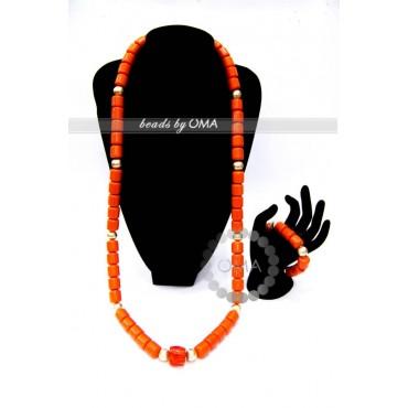 Men coral colour beads necklace