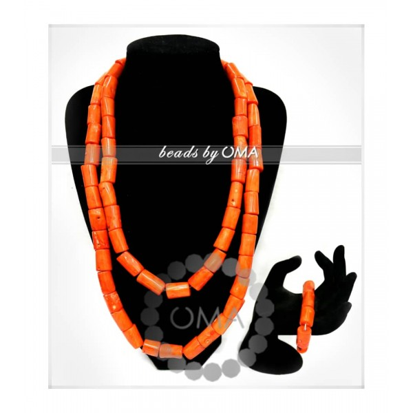 Double  layer real coral Unisex necklace