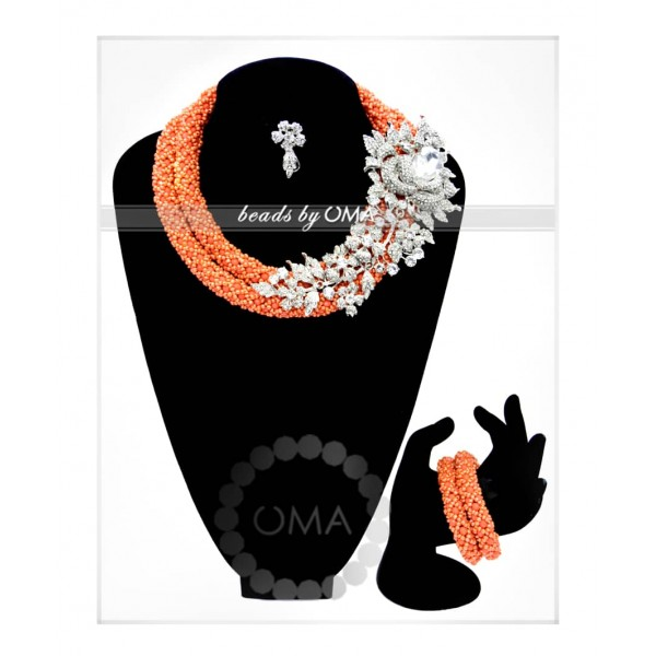 Handwoven  coral orange crystal  necklace
