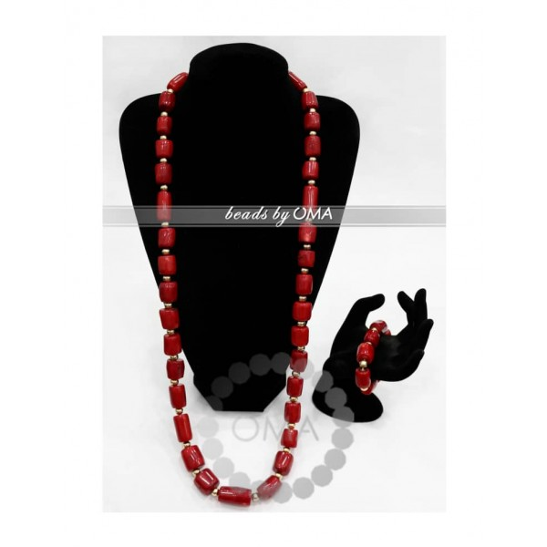 Men one layer real red coral necklace