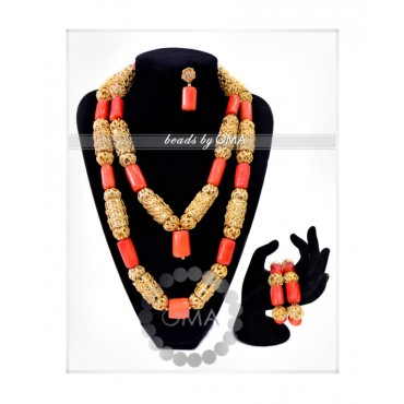 Two layers coral beads necklace