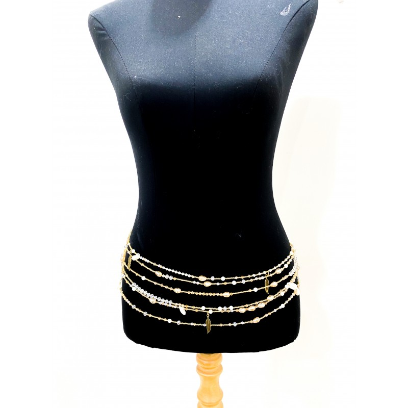3pairs of Champagne Luxe waist beads .
