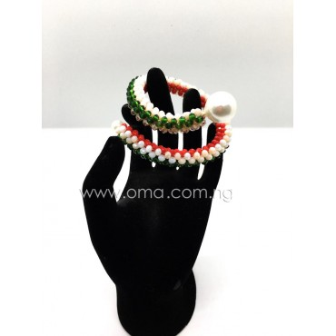 1ps multicolored Handmade matted chord crystal cuff bracelet