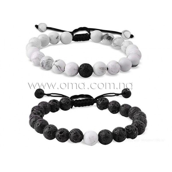 2ps White howlite and lava rock  knitted distance bracelets.