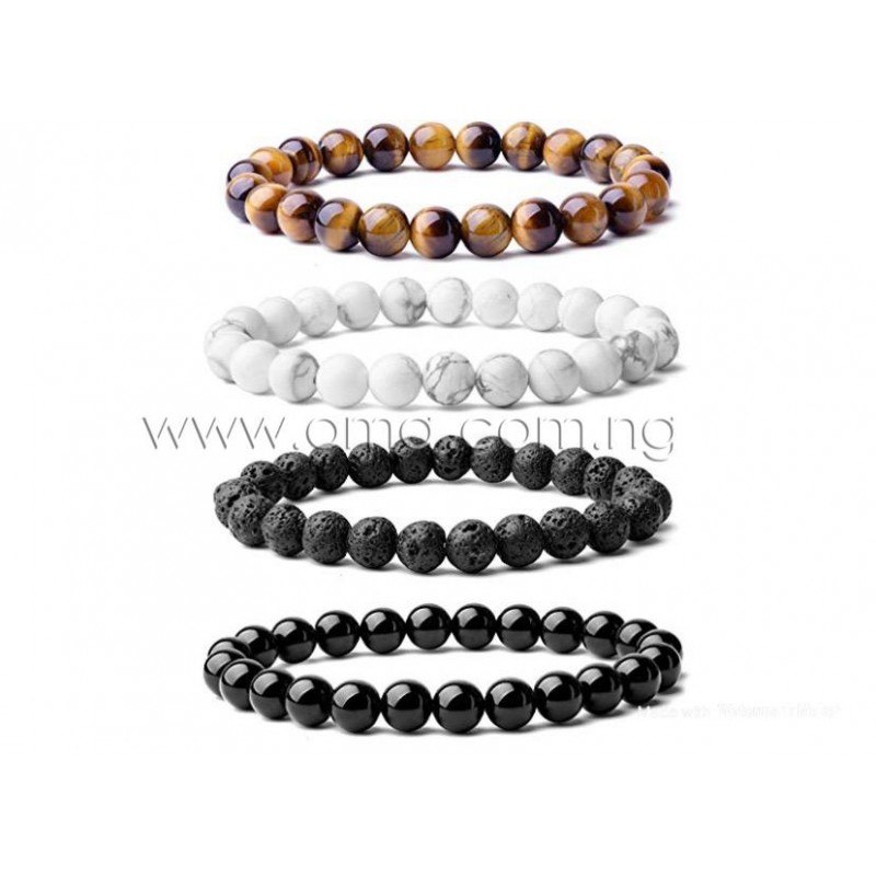 4Pcs lot 8mm Beaded  Bracelet Natural Stones stretch bracelet