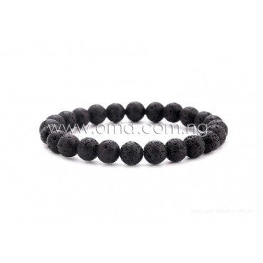 8mm Natural stone lava rock diffuser stretchy bracelet