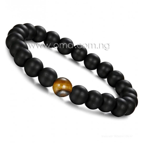 Natural Lava Stone and Tiger Eye 8mm Beaded stretch Distance Bracelet for Men and Women