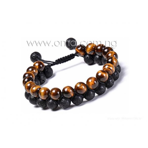 Double Handwoven tiger eye and lava stone adjustable bracelet