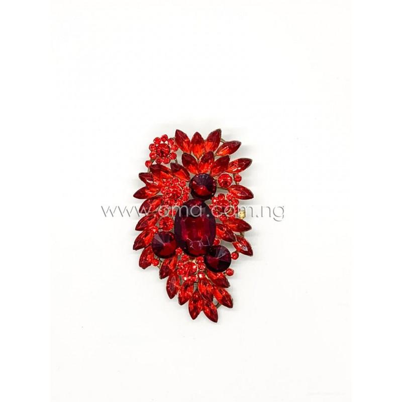 Red crystal  rhinestone brooch