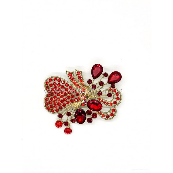 Red Crystal rhinestone bow brooch