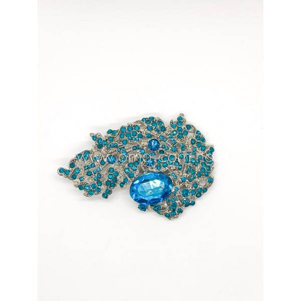 Large Teal Turquoise Blue crystal brooch