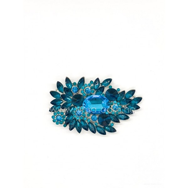 Teal blue crystal rhinestone brooch