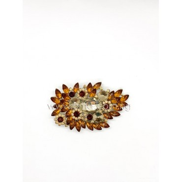 Amber brown crystal brooch