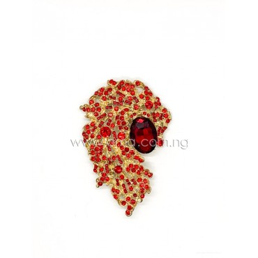 Big red rhinestone crystal brooch