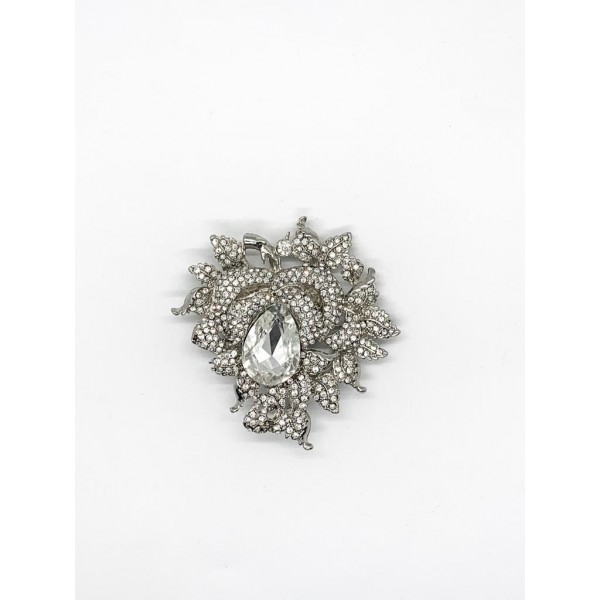 Silver Rhinestone jewelry making brooch