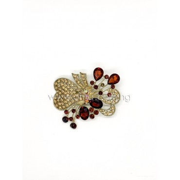 Amber brown crystal rhinestone bow brooch