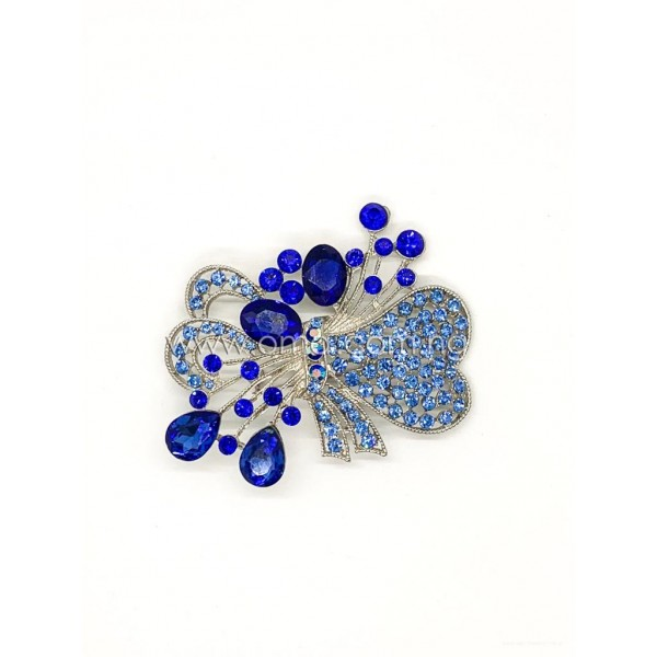 Royal blue rhinestone Bow brooch