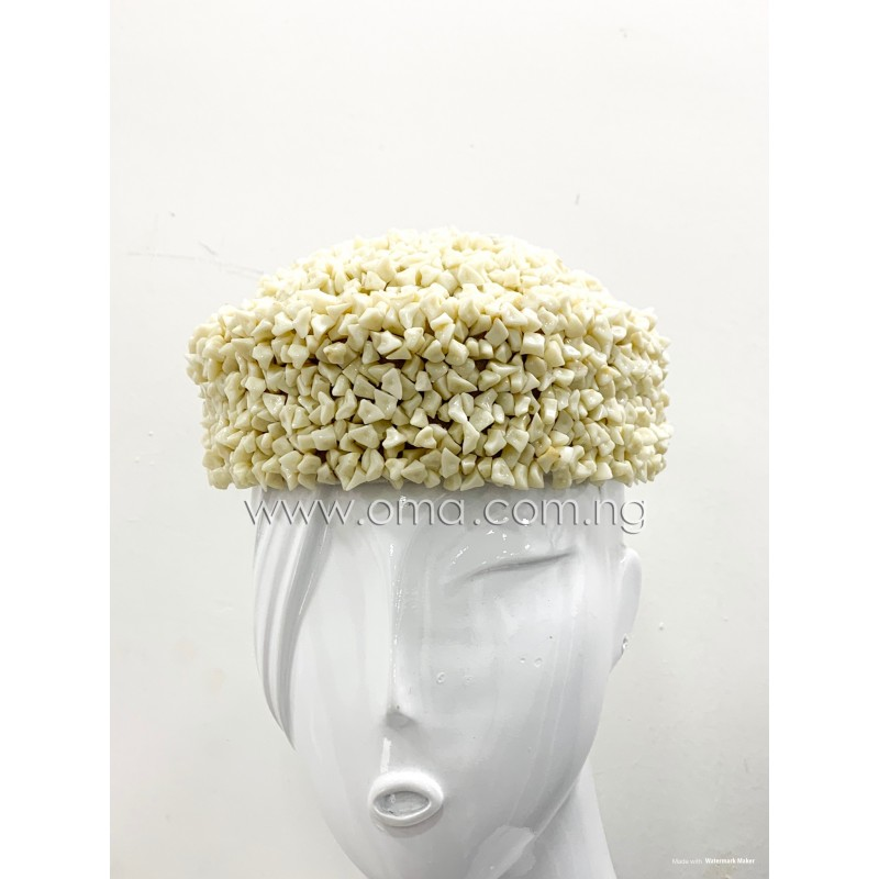 Handmade Ivory Coral colour Beaded broken beads cap