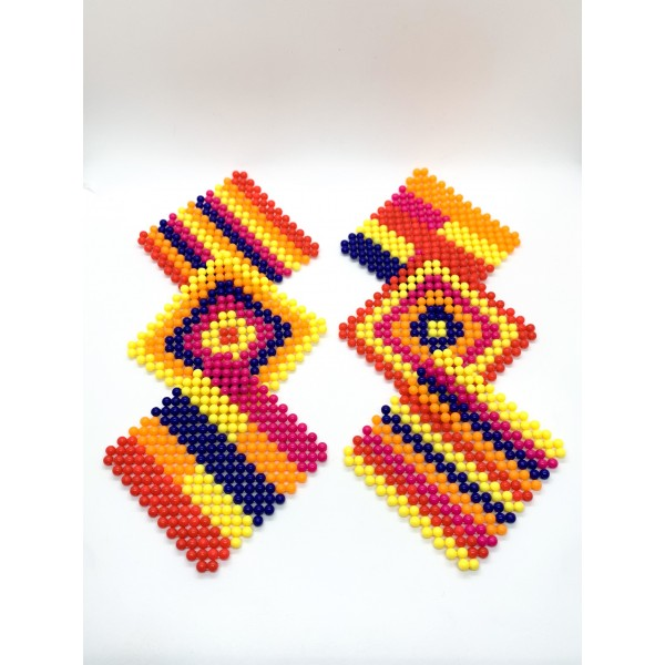 A set of 6 multicolored beaded Handmade coasters