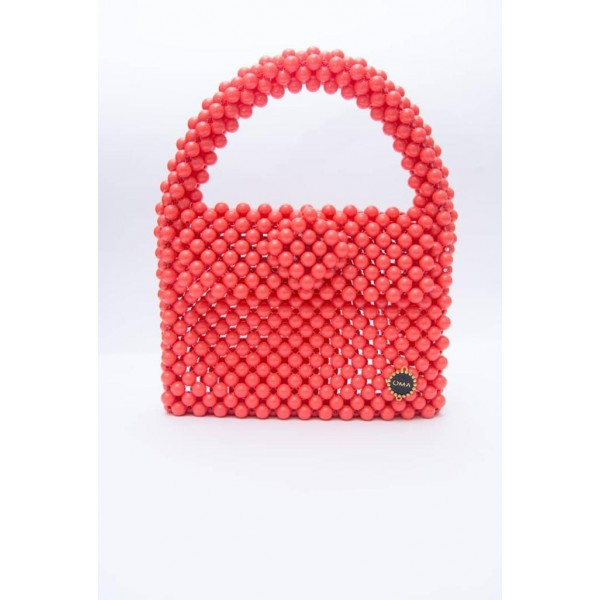 Beautiful Coral colour beaded bag