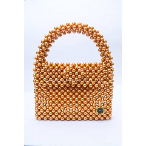 Beaded gold pearl bag