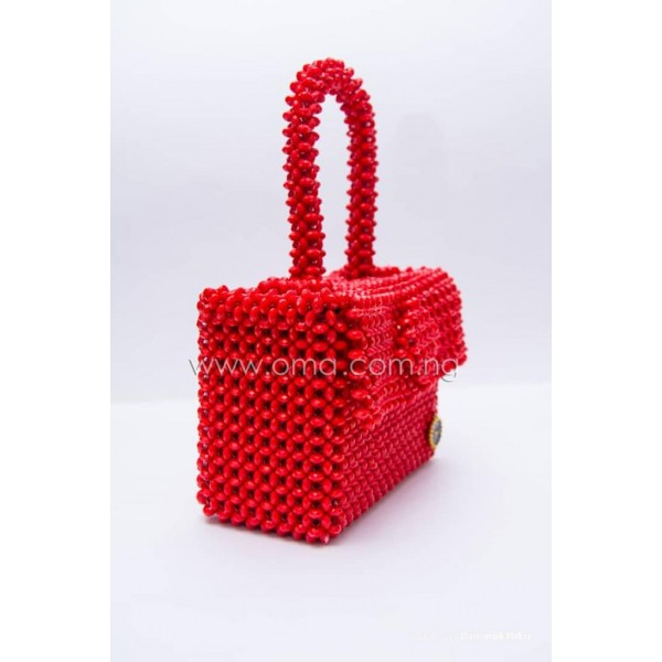 Beautiful Red Crystal beaded mini tote bag