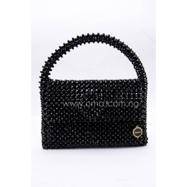 Black crystal beads mini tote bag