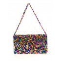 Multi colored crystal beads shoulder bag