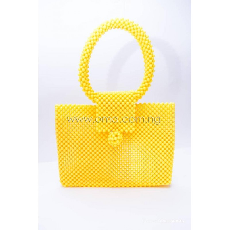 Stylish Beaded yellow bag
